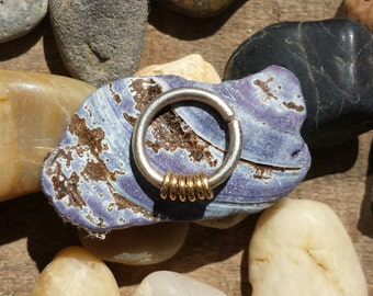 14 k gold and silver or all silver septum ring