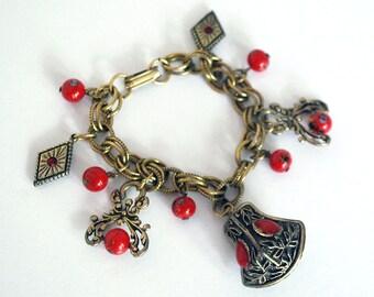 Brass Charm Bracelet, Red Glass Beads, Art Deco Jewelry, Gypsy Brass Bracelet, Boho Accessories, Red Cabochon, Red Rhinestones, Valentine