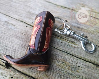 Handmade Brown Leather Cowboy Boot Key Ring, Keychain, Key fob, Cowboy Key Ring, Cowgirl Key ring, Keyring, Boho Keychain, Hippie Key Ring
