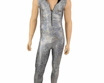 Mens Zipper Front Sleeveless Hoodie Catsuit Silver on Black Shattered Glass w/Black Zen Hood Lining Rave Festival EDM Party Animal - 155068
