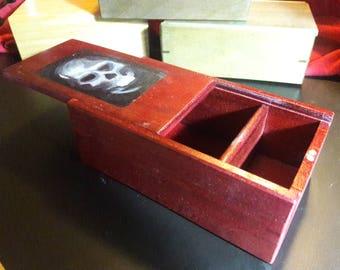 Hand Painted Skull on Red Wood - MTG Hardwood Deck Box - Slide top box