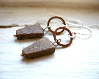 Feldspar Earrings, Feldspar Stone Copper Hoop Dangle Drop Earrings, Handmade Artisan Stone Copper Hoop Earrings, Stone Earrings
