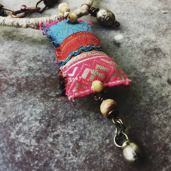 Hmong textile amulet necklace - boho gypsy necklace