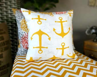 Yellow Anchors Pillow Cover