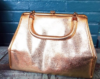 Vintage - 1960s Gold Vinyl Clutch/ Purse/ Handbag With Double Handles and Matching Coinpurse