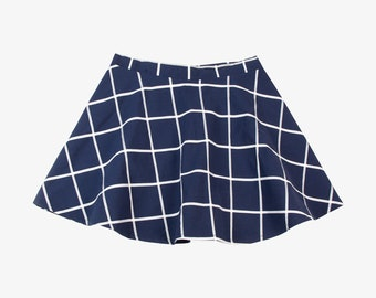 Handmade Navy and White Grid Print High Waist Skater Skirt