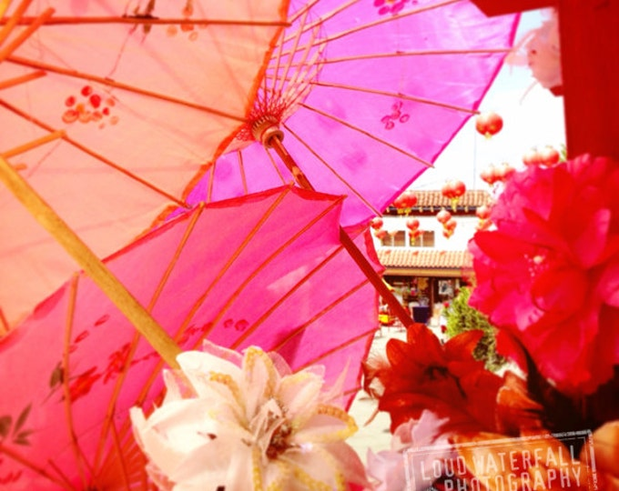 Paper Parasols and Flowers Photograph for Colorful Asian Decor - 4 sizes available