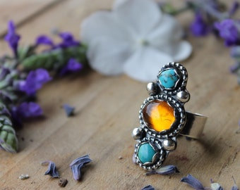 Amber and double turquoise ring