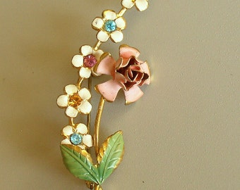 Flower Spray Brooch - Vintage Austrian Crystal - AZUB