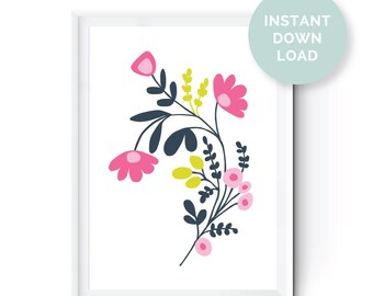 Floral Digital Print, Instant Download, Flowers, Floral Print, Home Decor, Nursery Wall Art, Art, Poster, Wall Art, Pink, Blue, Green