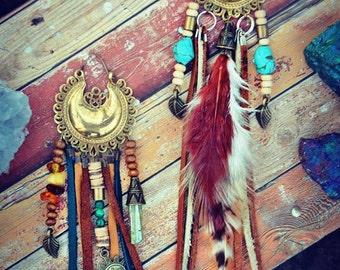 Talisman Pendant Necklace Mini Ethnic Tribal Native Hippie Gipsy Bohemian Feather Gipsy