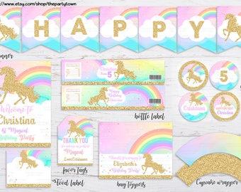 Unicorn Party Package, 1st Unicorn Birthday Invitation, Rainbow Magical Unicorn Invite, Gold Unicorn, first Pastel Unicorn Invite Unicorn