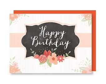 Happy Birthday Floral Chalkboard