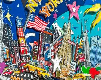 New York NY journey skyline 3D Pop Art shadow box architecture print USA souvenir Brooklyn Bridge Manhattan Big Apple