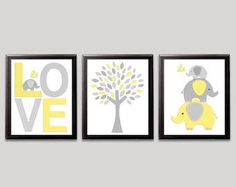 Yellow and grey elephant nursery art print -UNFRAMED - neutral gender wall art, baby boy art print, elephant, love, stacked elephants, tree