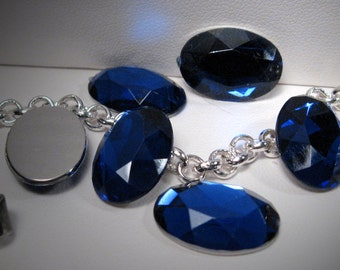 18x13mm - Sapphire - Acrylic Jewel Cabochon - 5 pcs : sku 08.12.11.7 - G2