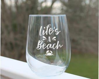 Beach wine glasses, etched wine glasses, Beach wine glass, Stemless wine glasses, Wine Glasses, Etched wine glasses, Fun Wine Glass