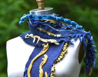 Blue yellow SCARF Wrap, bohemian art to wear, OOAK up cycled unique accessory, altered blue wrap, textured scarf with tassels and pom noms