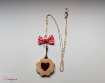 Biscuit necklace heart Strawberry