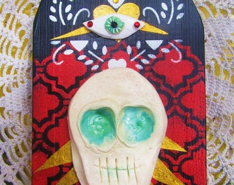Shrine, Day of the Dead, Retablo. This Folk wood alter will look great on a bright wall/Sugar skull design/Painted wood with fired ceramics.