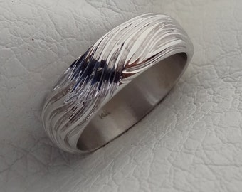 Ocean Wave Wind Hand Engraved Men's Waves Wedding Band Ring Solid 14k White Gold 7 mm wide
