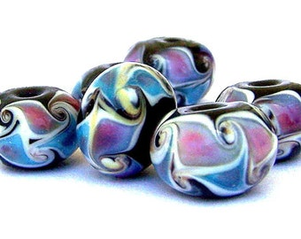 5 Egyptian style beads, multicolor lampwork glass rondelles, 15mm x 10mm, blue, mauve, lavender, black swirled