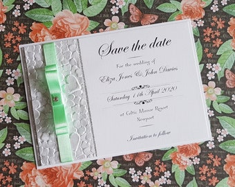 "Handmade Wedding ""Save the date"", glitter card and embossed paper, gem, mint green ribbon"