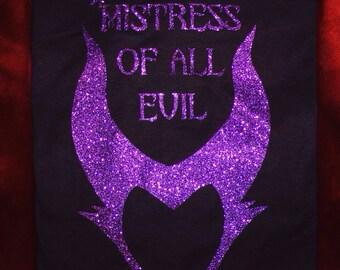 """Disney's Maleficent """"Mistress of all evil""""  Glitter T-shirt"""