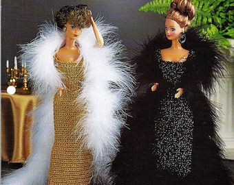 """Evening Gowns 11 1/2"""" Doll Crochet Pattern Annies Fashion Doll Crochet Club FC19-03"""