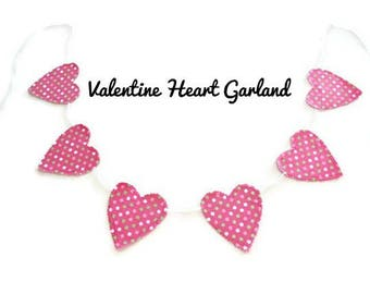 Valentine Heart Garland, Fabric Heart Banner, Valentines Day Gift For Girls, Girls Room Decor, Pink Polka Dot Banner