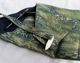 Kimono Silk Four-Pen Wrap, Pen Roll, Pen Case