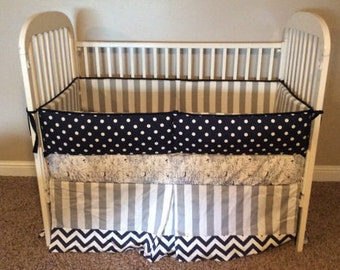 Custom 2 or 3 piece Crib Bedding - Grey Navy White Vintage Airplane