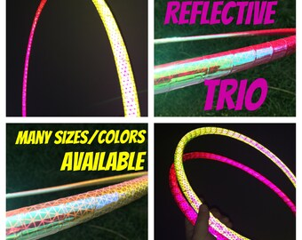 REFLECTIVE  TRIO Mini Poi Hoops - Any Combination Dance & Exercise Hula Hoop COLLAPSIBLE Push Button or solid