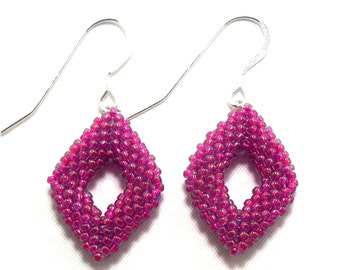 Colorful Fuchsia Handmade Beadwork Earrings