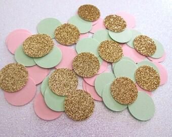 225 Mint Blush  Gold Confetti Mint Blush Gold Party Decorations Mint to Be Mint Blush Wedding Confetti Mint Blush Bridal Shower Decorations