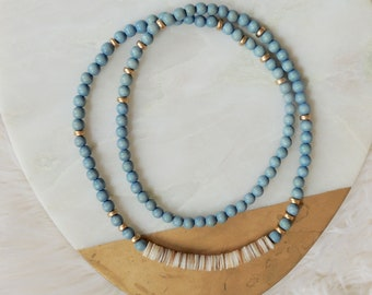 Jenni Seashell and Wood Beaded Necklace in Ocean Blue