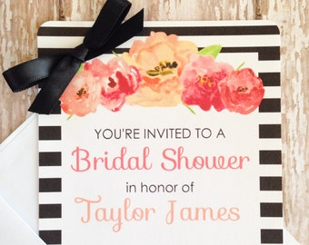 12 floral striped bridal shower invitations, printed striped bridal shower invites, watercolor flower bridal shower, flower bridal shower