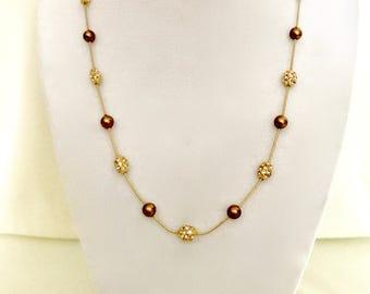 Vintage Chocolate Pearl and Rhinestone Bead Necklace   GJ2937