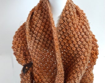 Infinity Scarf in Pumpkin Wool and Mohair
