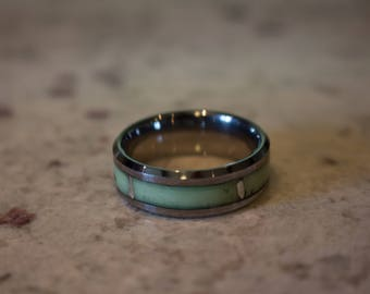 Tungsten Ring with Green Glowstone and Sterling Silver inlay