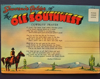 Souvenir Folder of the Ole Southwest Vintage Foldout Postcards with Cowboys' Prayer