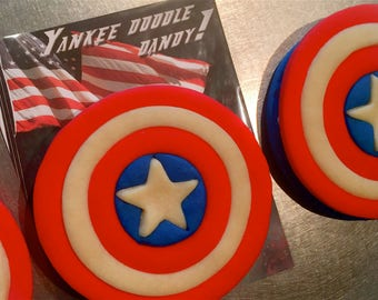 2 large Captain America Shield inspired Kids Birthday Party Cookies, 4th of July Favors, USA Independence Day, Captain America, Memorial Day