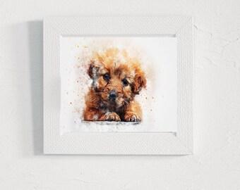 Dog puppy print painting Digital illustration Printable wall art nursery Animal art decor Art pictures watercolor gifts Wall print artwork