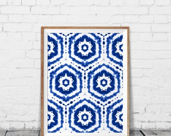 Shibori wall art - Indigo shibori pattern - Indigo shibori print - Modern home decor - Printable gift - Rustic home decor - Indigo art