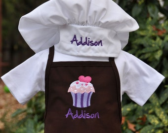 Kids Apron Set - Apron and Chef Hat - Personalized - Childs Apron Set - Toddler Apron Set - Boys Apron - Girls Apron - Christmas Gift