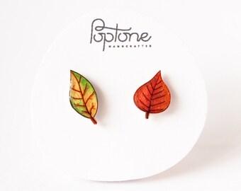 Autumn Leaf Stud Earrings, fall leaves studs, fall colors jewelry, fall earrings, leaf earrings