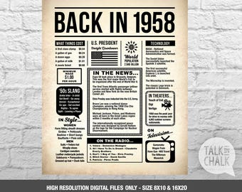 Back In 1958 Newspaper-Style DIGITAL Poster | 60th Birthday PRINTABLE Sign | 60th Birthday Poster | 60th Birthday Gift Ideas