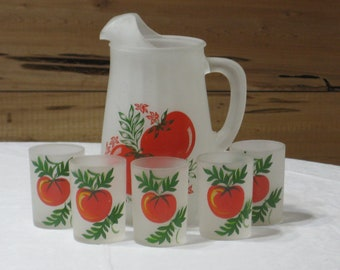 """Vintage Hazel Atlas Gay Fad """"Tomato"""" Pitcher & Juice Glass Set  Frosted White w/ Red and Green"""
