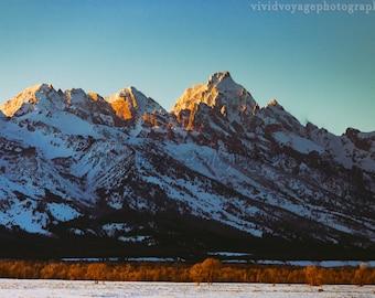 Mountain Photography, Grand Tetons Photo, Rustic Landscape, Grand Teton National Park, Sunset Photo, Rustic Wall Art, Wyoming Photograph