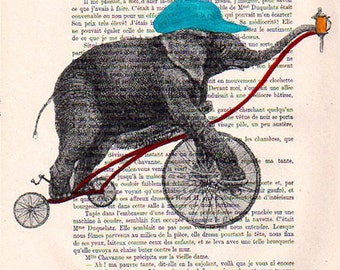 Retro Elephant Print, Digital Print, Circus Print, Elephant on Bicycle, Wall Art Prints, Turquoise, Christmas Gift, Circus Elephant